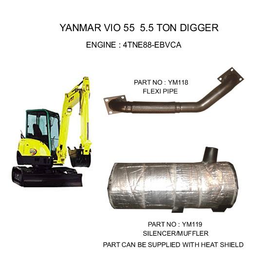 GT Exhausts: Yanmar VIO 55 5 5 TON DIGGER 4TNE88-EBVCA MINI - DIGGER